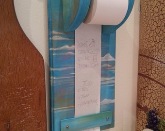 Evening Sky Blue Cloud Classic Grocery List Dispenser Kitchen Memo Note Scroll Natural Solid Wood Classic note taker vintage home decor
