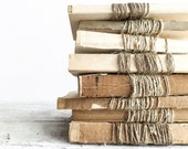 Set of 3 Unbound Vintage Books Wrapped in Twine, Farmhouse Decor