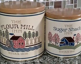 Vintage Flour Mill Inn and Sugar Shack Inn Canister Set Retro 1987 Kitchen Storage