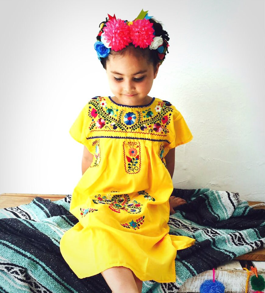 mexican embroidered girls dress yellow