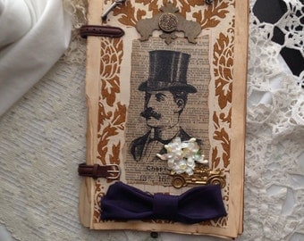 Steampunk Gentleman Antique Auto theme Mixed Media Collage Wall Art Altered Book Art Substrate/Vintage Wallpaper/Bowtie/Key Gold Brass