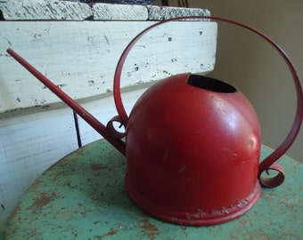 Vintage Red Painted Metal Watering Can/Oil Can Style Watering Container