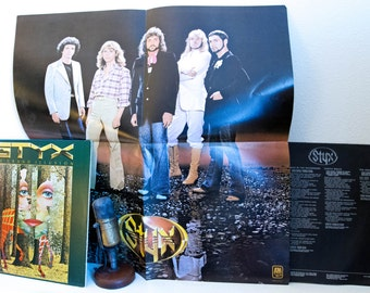 """ON SALE Styx Vinyl Record Album Vintage 1970s Classic Rock Dennis DeYoung Tommy Shaw """"The Grand Illusion"""" (1977 A&M w/""""Come Sail Away"""" and P"""