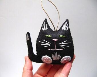 Black and White Cat Christmas Ornament, Black and White Felt Cat Ornament, Custom Cat Ornament, Black Tuxedo Cat Ornament