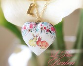 Bunny  love with initial pictures Locket necklace