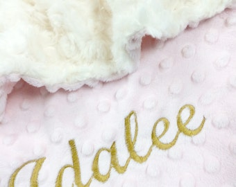 Pink, Ivory and Gold Baby Blanket, Personalized Blanket Ivory Swirl Minky Baby Blanket with Pink Dot Minky Back Lovey Size