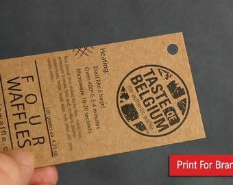200 Business Cards or hang tags - 13 PT brown kraft paper with drilled hole - environmentally friendly - full color custom printed