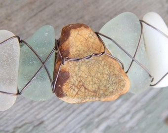 Real Sea Glass Ocean Pottery Barrette Found Beach Treasure Hair Clip Mermaid Accessories Gifts under 30 For Her Summer Fashion Updo Bling