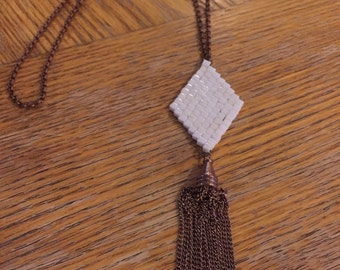 Beaded Tassle Necklace Cream and Antique Copper
