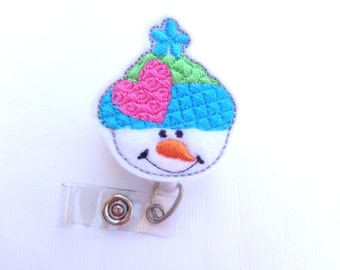 Badge Holder Retractable - Winter Snowman with beanie badge reel - white felt with turquoise pink green - nurse badge reel medical staff