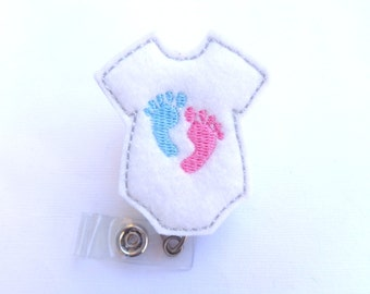 Retractable badge holder - Baby Love - white felt bodysuit with baby feet - pediatrician nurse labor and delivery midwife - nurse badge reel