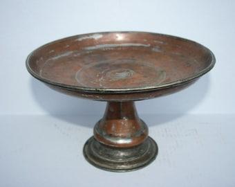 Copper Tin Compote Cake Stand Pedestal