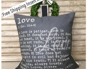 Love Is Patient Love is Kind - 1 Corinthians 13: 4-8 Chalkboard background pillow
