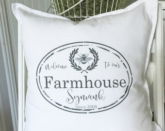 Welcome to our Farmhouse Personalized   Family Name   Distressed Label   Pillow Cover   Farmhouse Decor   Cottage Decor   Cottage Pillows