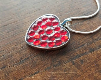 Red rhinestone and silver glitter Pendant, sparkly, glittery, party, bridal, hen, gift occasion jewellery, comes with 16 inch chain