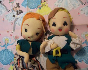 two adorable felt and cloth dolls