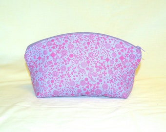 Extra Large Domed Make-Up Bag In a Tiny Floral Print in Orchid on Lavender