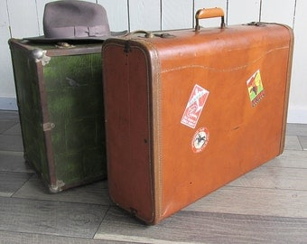 Mid Century Camel Brown Leatherette Suitcase with Travel Stickers