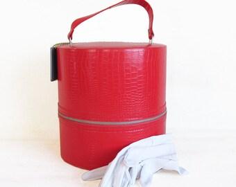 "Mid Century Wig Case - Hat Box ""Bright Red Faux Alligator Skin"""