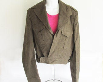 1957 Canadian Army Cadet Women's Waist Cut Wool Jacket -  SMALL-MEDIUM