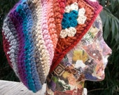 Womens Slouchy Hat Granny Square with rainbow in warm red