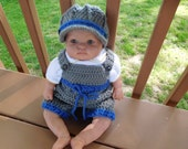 Newsboy Cap/Shorts Set for 0-3 Month Baby Boy or Reborn Doll in Gray with Blue Trim