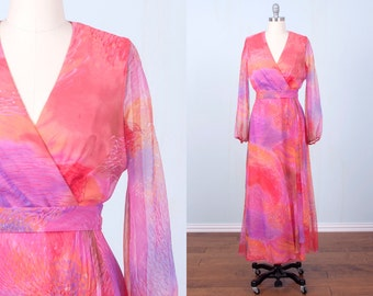 60's Maxi Dress / Dreamy Pink Evening Gown Organza Sheer Sleeves Hostess Miss Elliette / Medium Large