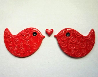 2 Love birds- handmade ceramic bird tiles - mosaic supplies from ceramic clay