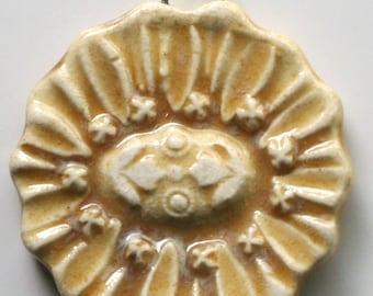 Handcrafted Ceramic Floral Flower Porcelain Pendant