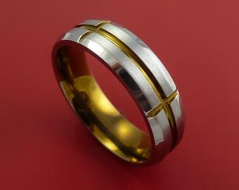 Titanium and Bronze Anodized Band Custom Made Ring