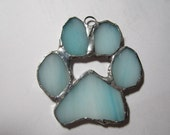 Stained Glass Paw print Ornament