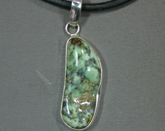 Turquoise and sterling Wintergreen mine pendant,  JS-pd-036