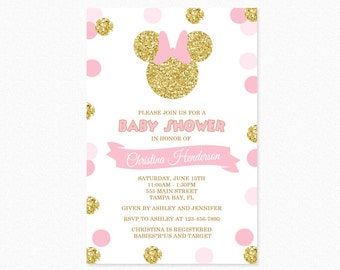 Pink and Gold Minnie Mouse Baby Shower Invitation, Gold Minnie Mouse, Gold Glitter, Polka Dot, Girl, Printable Invitation