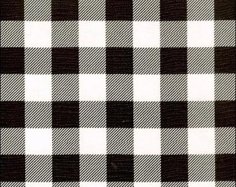Round Large Black Gingham Oilcloth Tablecloth