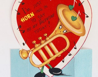 Vintage 1950's Valentine Musical Instrument Horn Greeting Card!