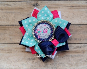 Trust in the Lord with all your heart ....Large ribbon flower hairbow... Navy, pink, aqua, white