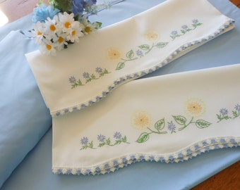 Sweet Vintage Twin Size Sheet Set Blue Twin Sheets And Vintage Hand Embroidered Pillowcases Free Shipping