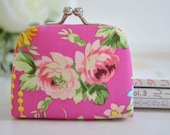 Vintage Floral in Fuchsia - Tiny Kiss lock Coin Purse/Jewelry holder