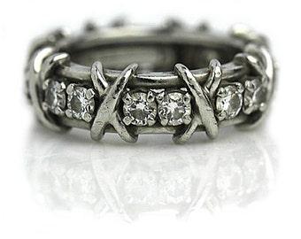 Tiffany and Co Wedding Ring Schlumberger 1.70ctw Vintage Diamond Wedding Band Platinum Eternity Band Signed Tiffany Vintage Wedding Ring!