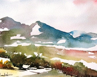 Atalaya Mountain - Original Watercolor Painting