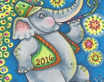 Happy New Year ELEPHANT Holiday Susan Brack Art ACEO EBSQ