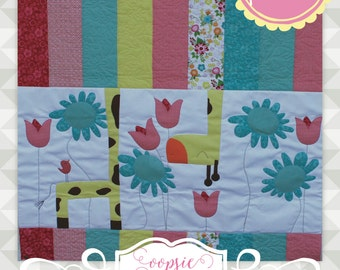 Instant Download: Oopsie Daisy- Applique quilt pattern. Giraffe applique. Large applique. Quilt for baby. Nursery quilt. Blanket pattern DIY
