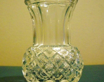 Vintage Glass Vase or Toothpick Holder  Cut Glass Small Vase Free Shipping