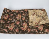 Antique French Quilt. Toile de Jouy Bed Cover. Soft Pinks and Browns. Comforter Bedspread