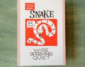 "Chinese Zodiac 5""x7"" - YEAR of the SNAKE - Letterpress Art Print - New Years - Junishi"