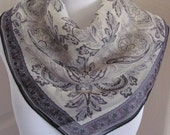 """Designer Gray Sheer Silk Scarf // 20"""" Inch 50cm Square // Best of the Best NWT"""