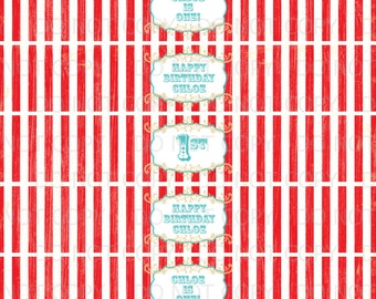 Printable DIY Vintage Circus or Carnival Theme Water Bottle Labels - Red and White Stripes
