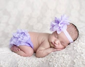 Lavender Bloomer Set, Bloomer and Headband, Newborn Photo Prop, Baby Girl Prop, Lace Bloomers, Baby Headband, MANY COLORS
