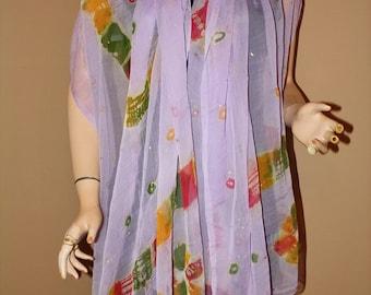 Vintage Shawl Wrap Sheer Silk Mauve Hand Printed Tie Dye Hippie Indian