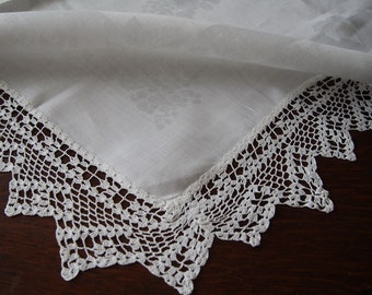 Linen Damask Tablecloth with Crocheted Lace Border 46 x 48